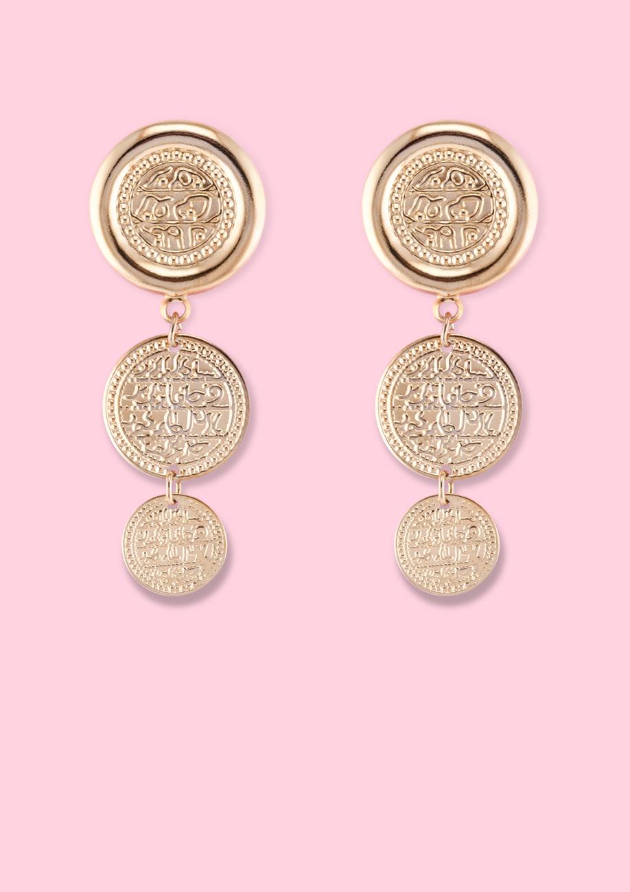 Vintage-Far-east-drop-earrings-gold