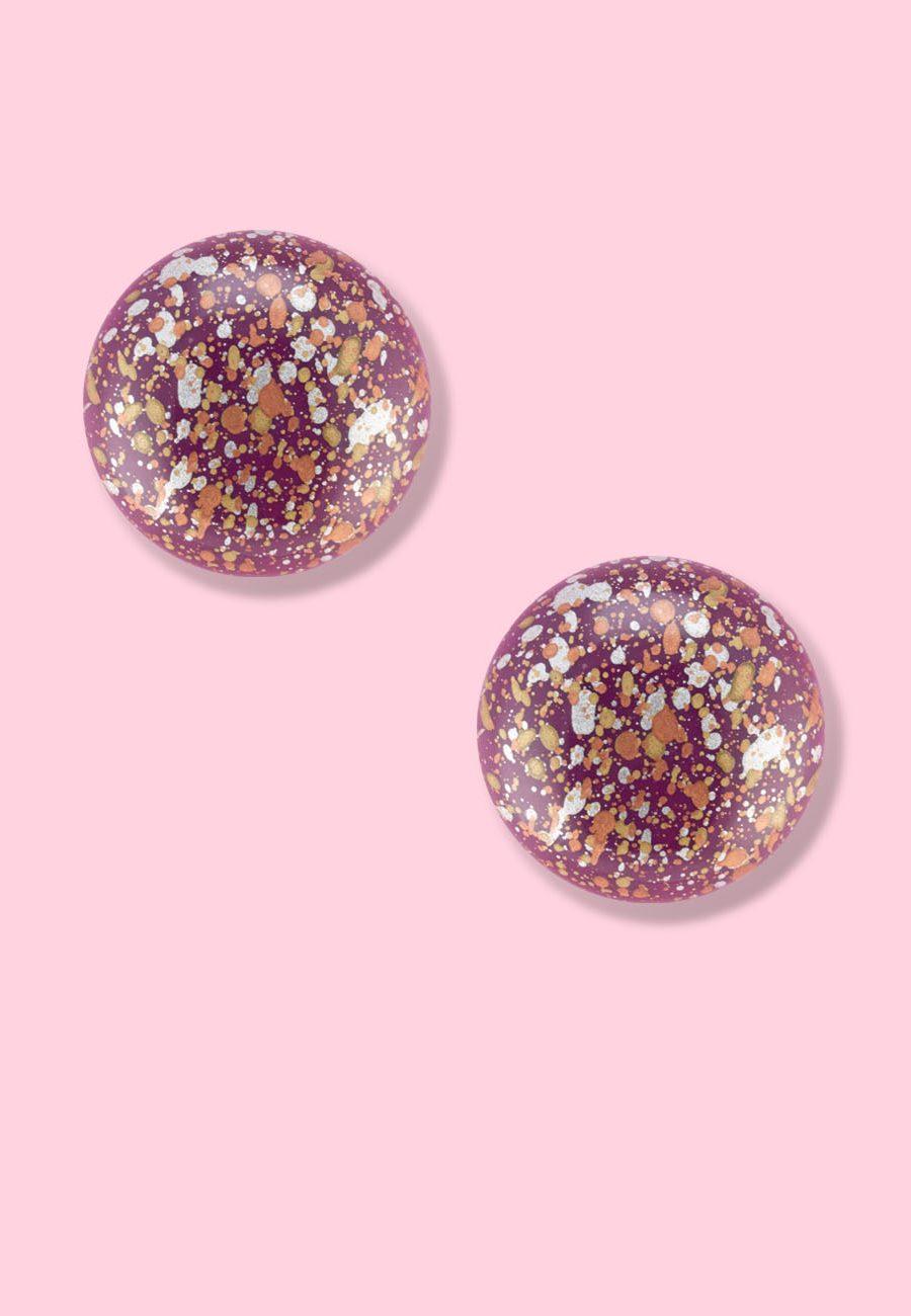 Vintage-Speckle-stud-earrings-round