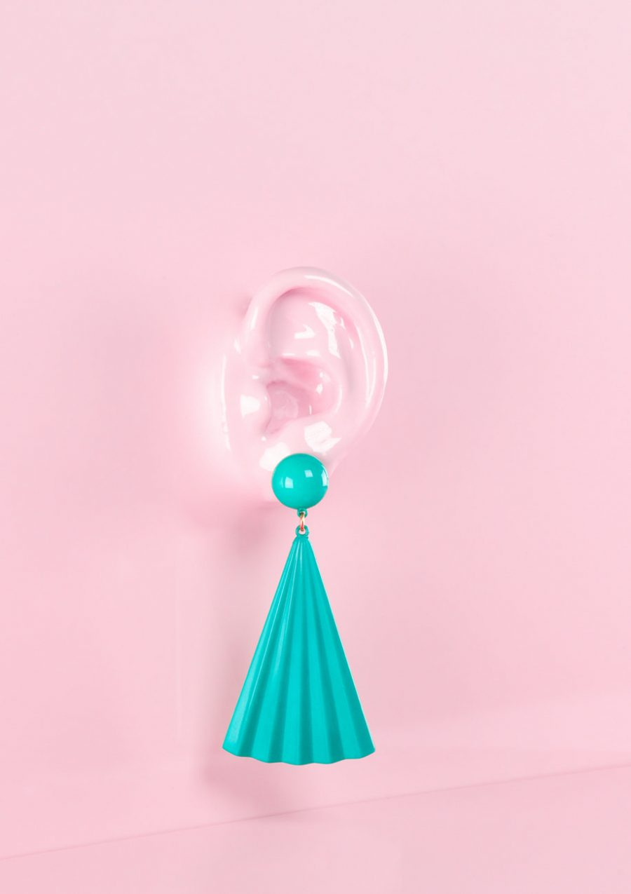 70s oorbellen turquoise