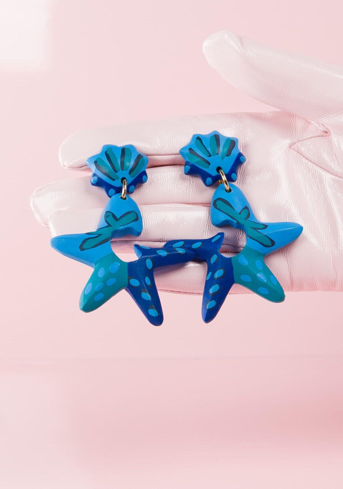 Blue wooden drop earrings