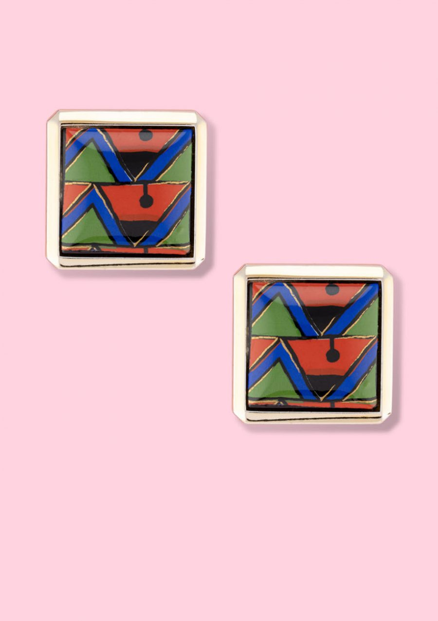 Abstract vintage stud earrings with clip closing, by live-to-express. Shop sustainable vintage earrings online.