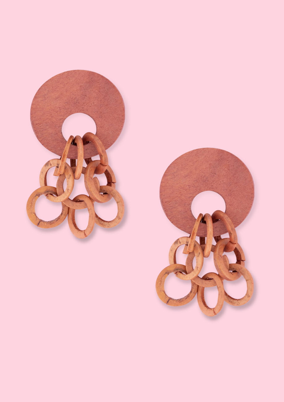 Brown wooden vintage drop earrings by live-to-express. Shop 70's vintage earrings online.