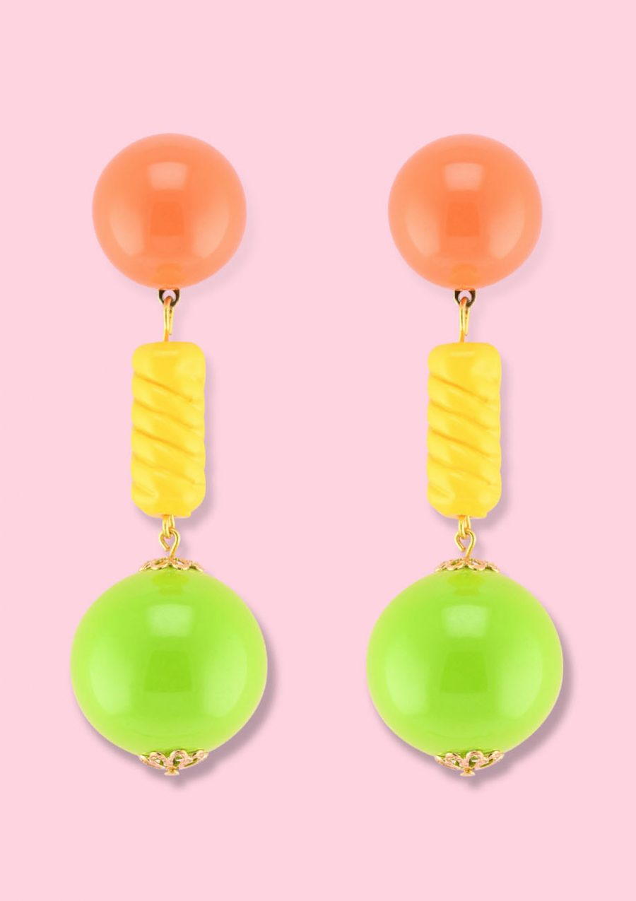 Vintage statement drop earrings with clip-on closing, by live-to-express. Shop sustainable vintage earrings online.
