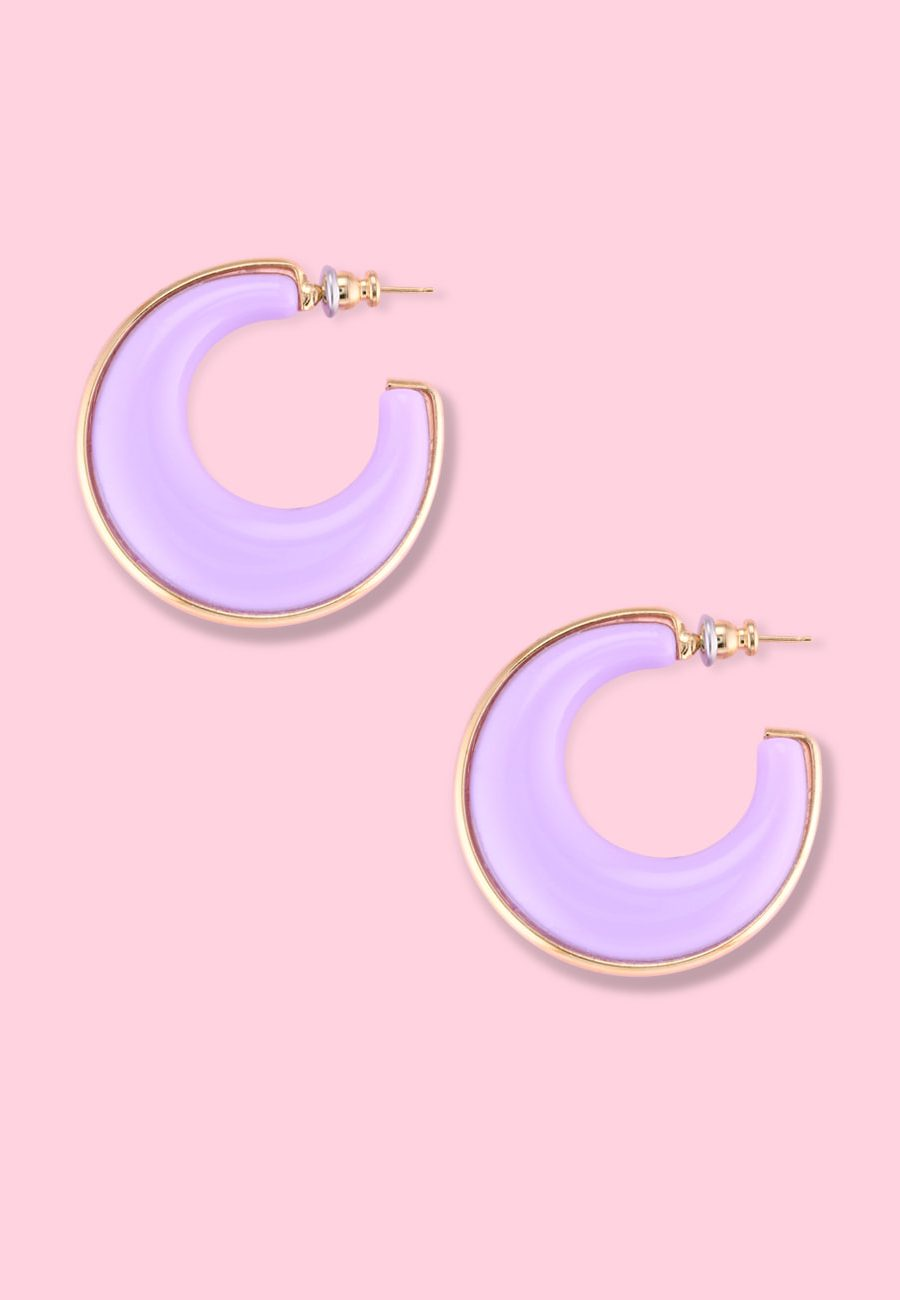 Gold and lilac vintage bold hoops, by live-to-express. Shop hoop earrings online.