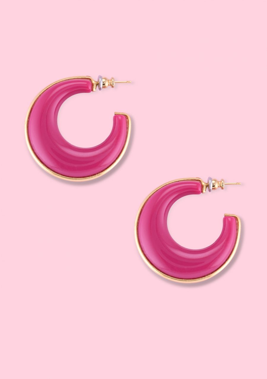 Gold and pink vintage bold hoops, by live-to-express. Shop hoop earrings online.