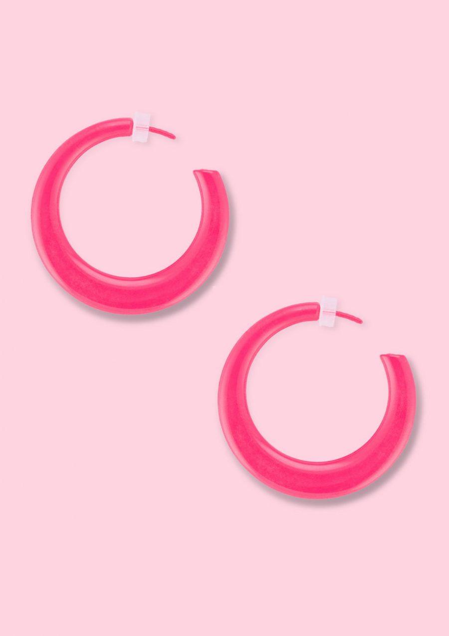 Red vintage retro hoop earrings, by live-to-express. Shop retro earrings online.