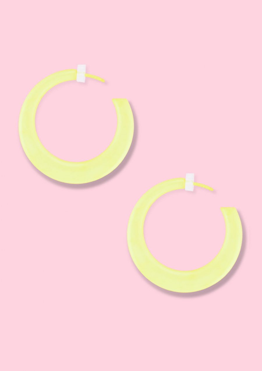Yellow vintage retro hoop earrings, by live-to-express. Shop retro earrings online.