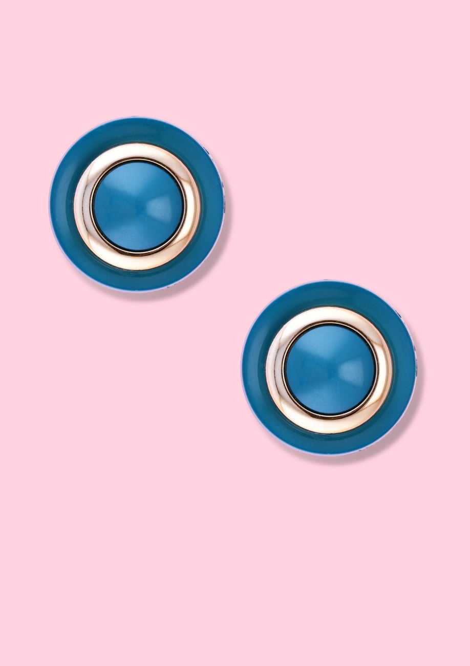 Blue classic style vintage stud earrings with clip-on closing, by live-to-express. Shop vintage earrings online.