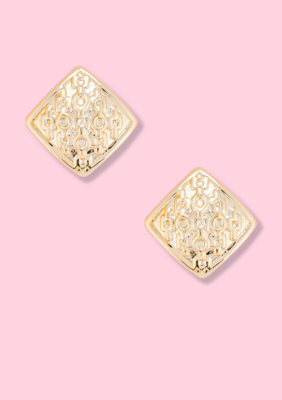 Gold square classic stud earrings by live-to-express. Shop 90's vintage earrings online.