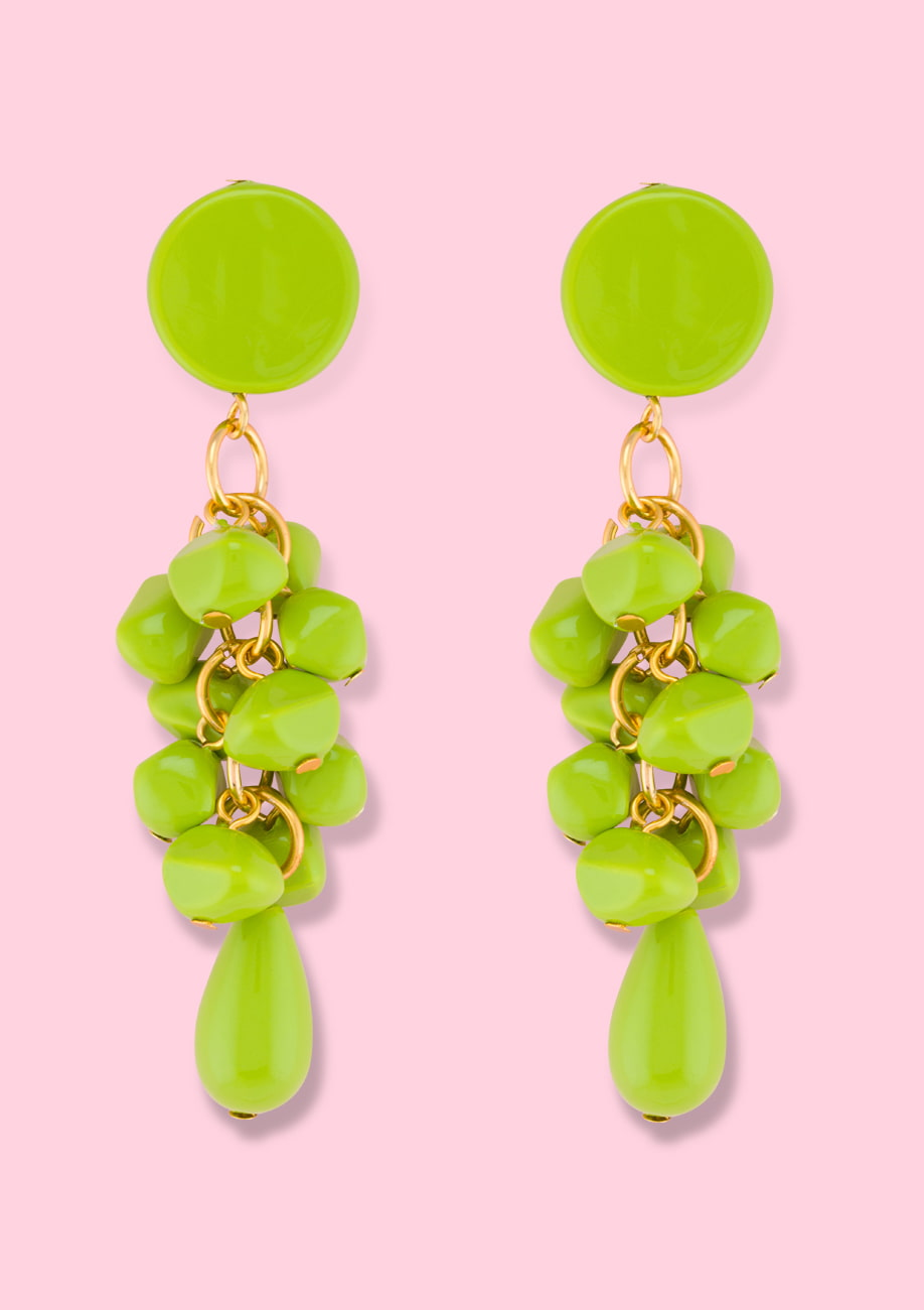Green drop ear jewellery. Vintage ear jewellery by live-to-express