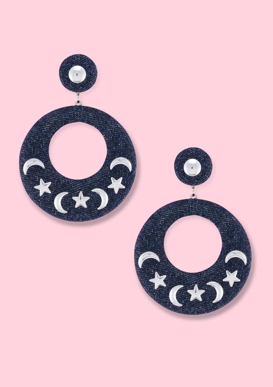 Vintage blue denim push-back earrings by live-to-express. Shop vintage earrings online.