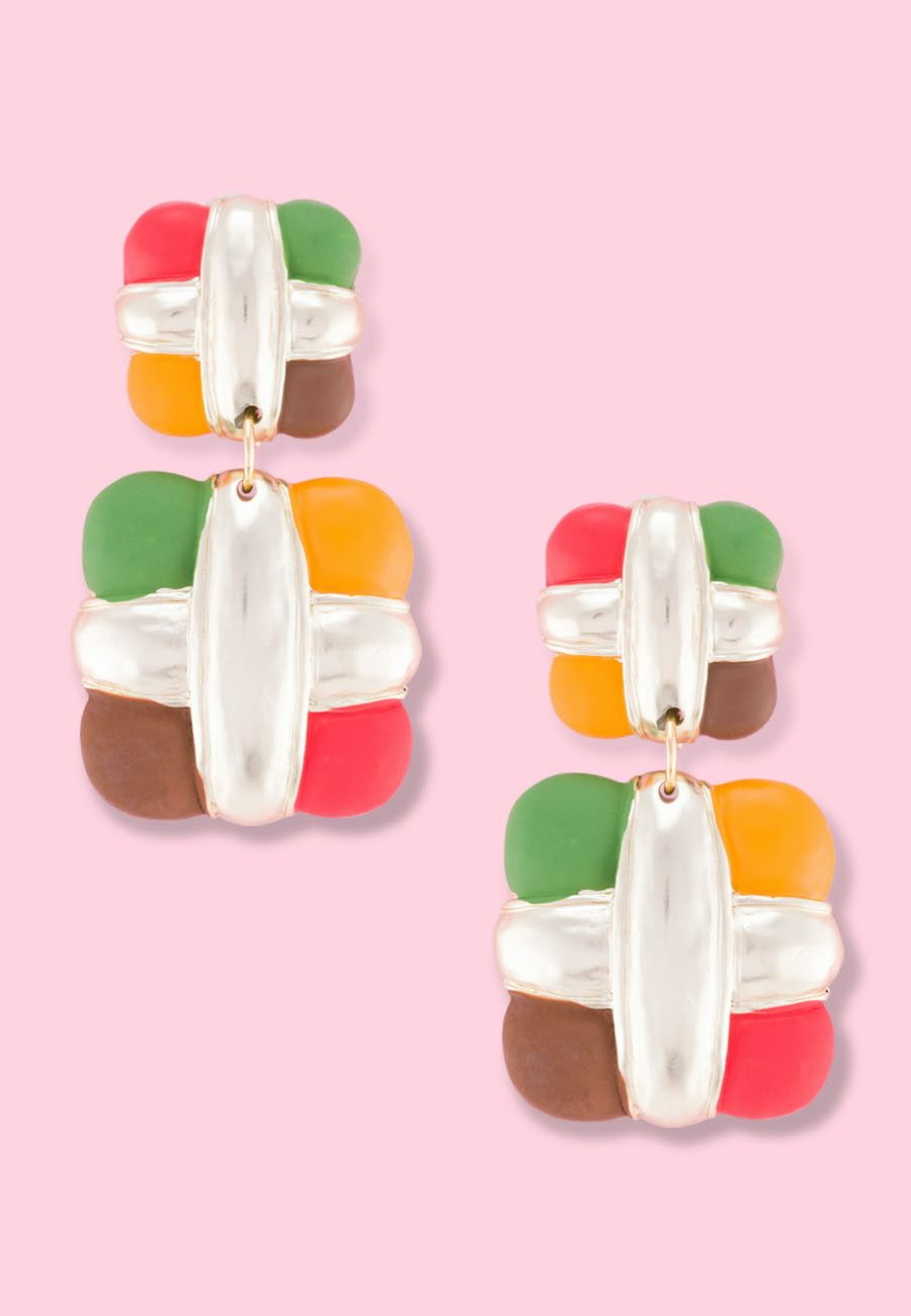 Square multi coloured vintage earrings by live-to-express. Shop vintage earrings online.