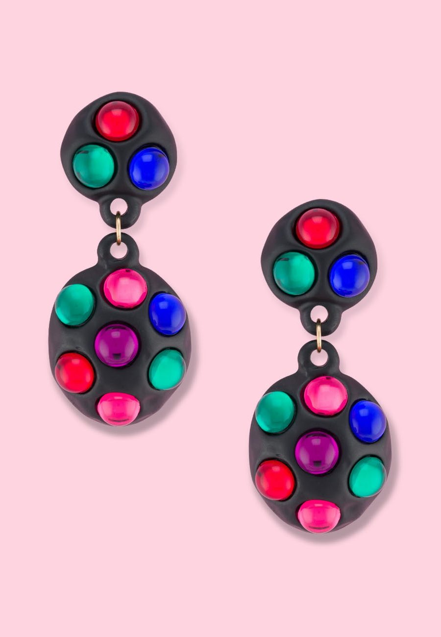 Colourful abstract vintage drop earrings by live-to-express. Shop 80's vintage earrings online.