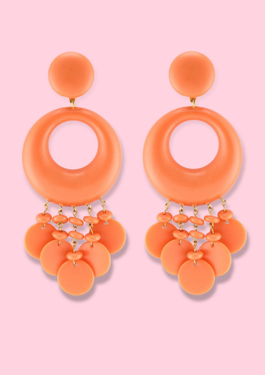 Orange statement earrings by live to express. Sustainable earrings online at live-to-express.