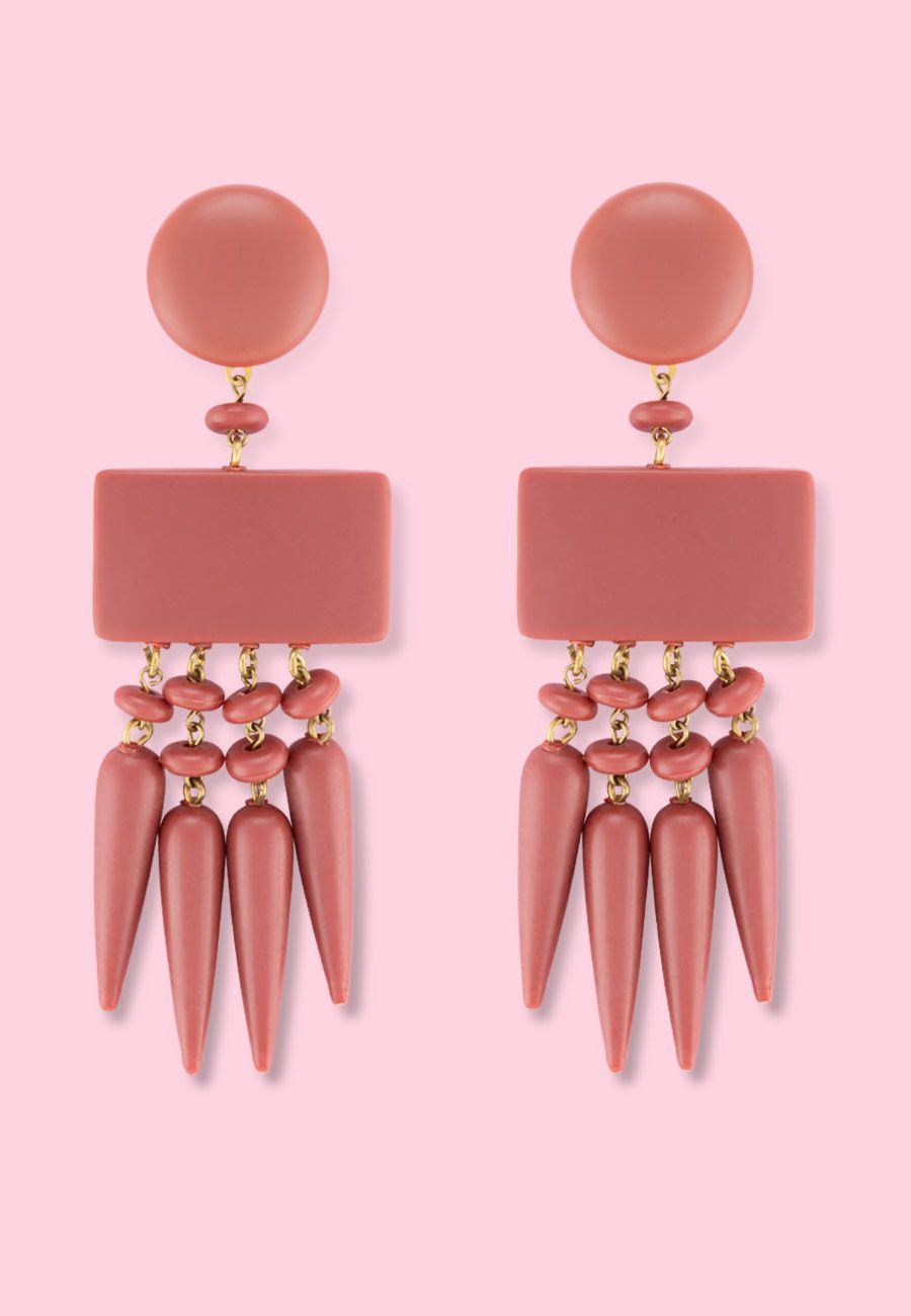 Brown statement earrings by live-to-express. Shop 70's vintage earrings online.