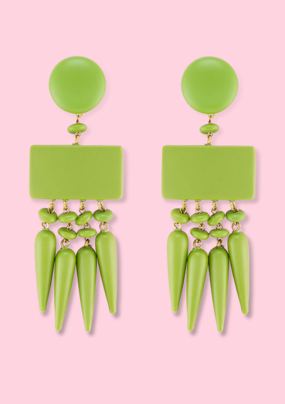 Green statement earrings by live-to-express. Shop 70's vintage earrings online.