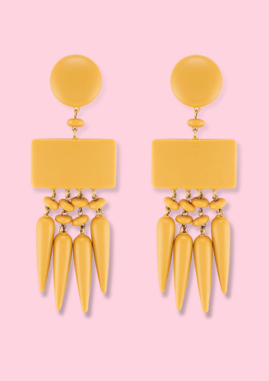Yellow statement earrings by live-to-express. Shop 70's vintage earrings online.