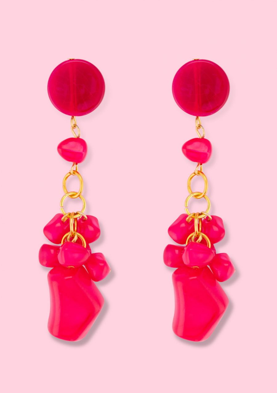 Red drop earrings. Vintage earrings by live-to-express