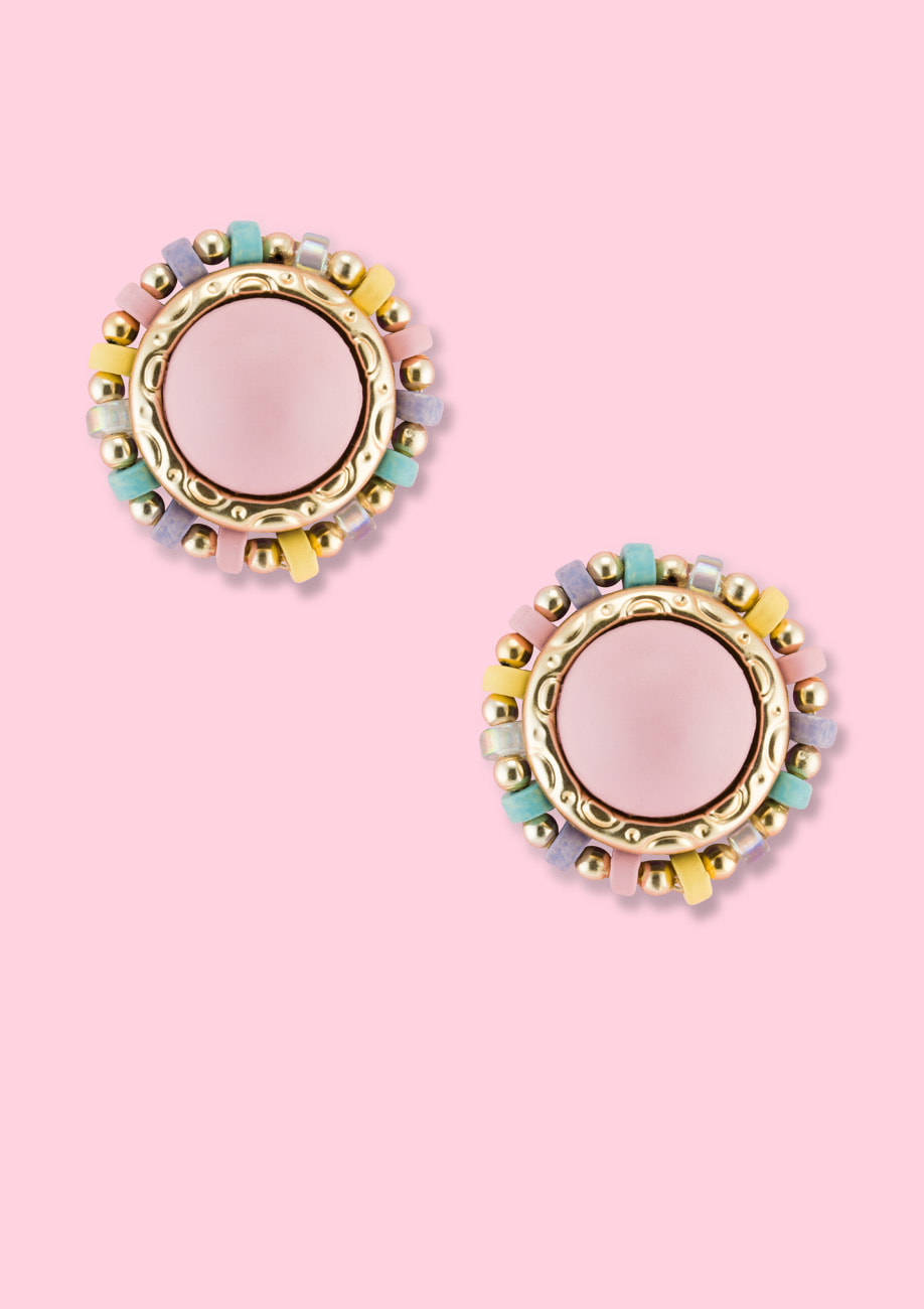 Pastel colored stud earrings, by LIVE-TO-EXPRESS