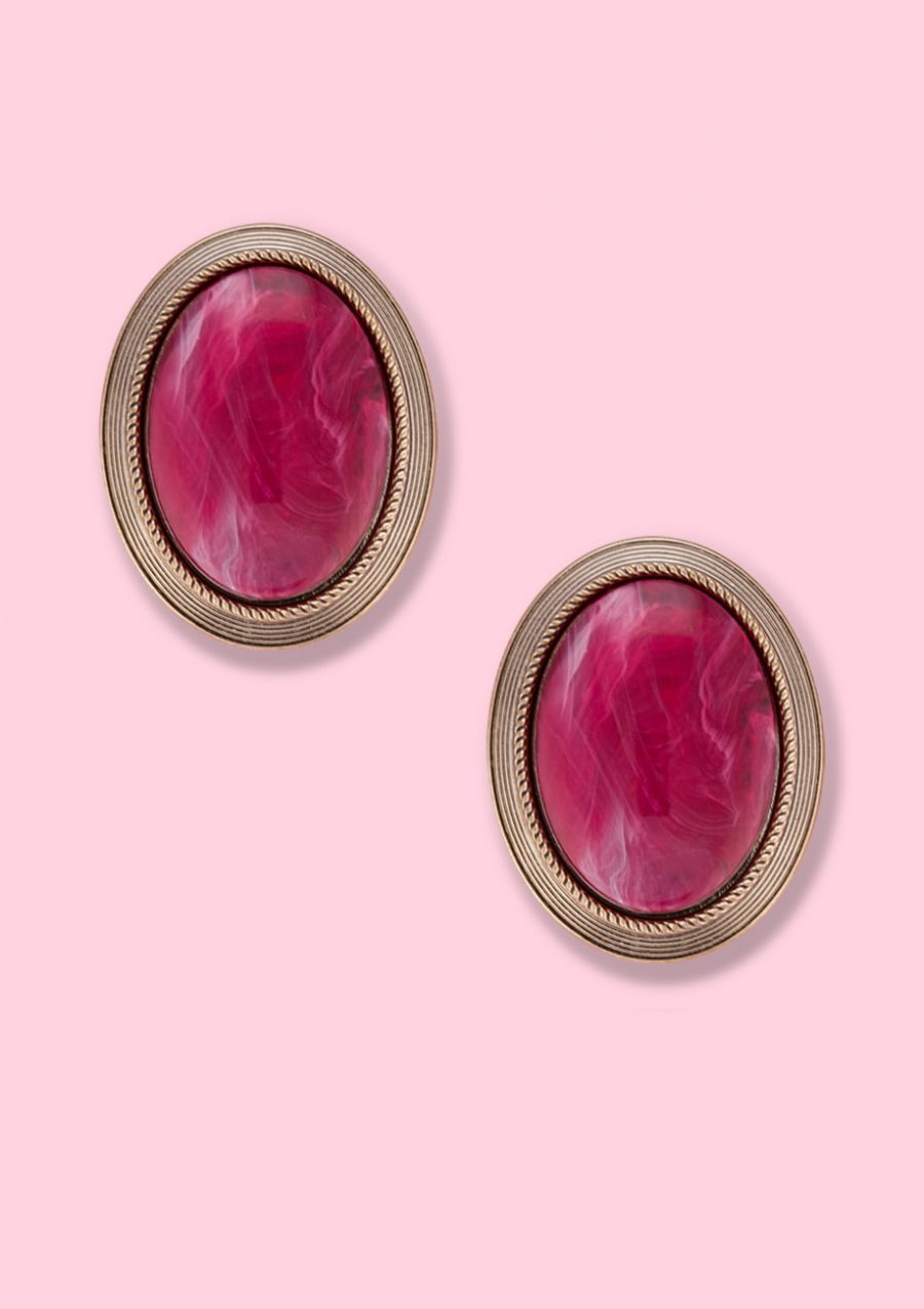 Red classic vintage stone earrings, by live-to-express. Shop sustainable vintage earrings online.
