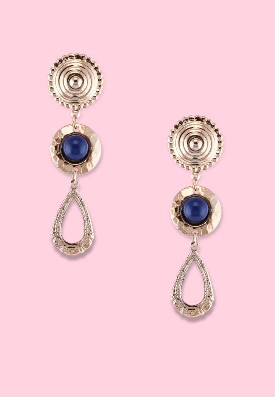 Blue pearl dangle ear jewellery by live-to-express. Shop 90's vintage ear jewellery online.