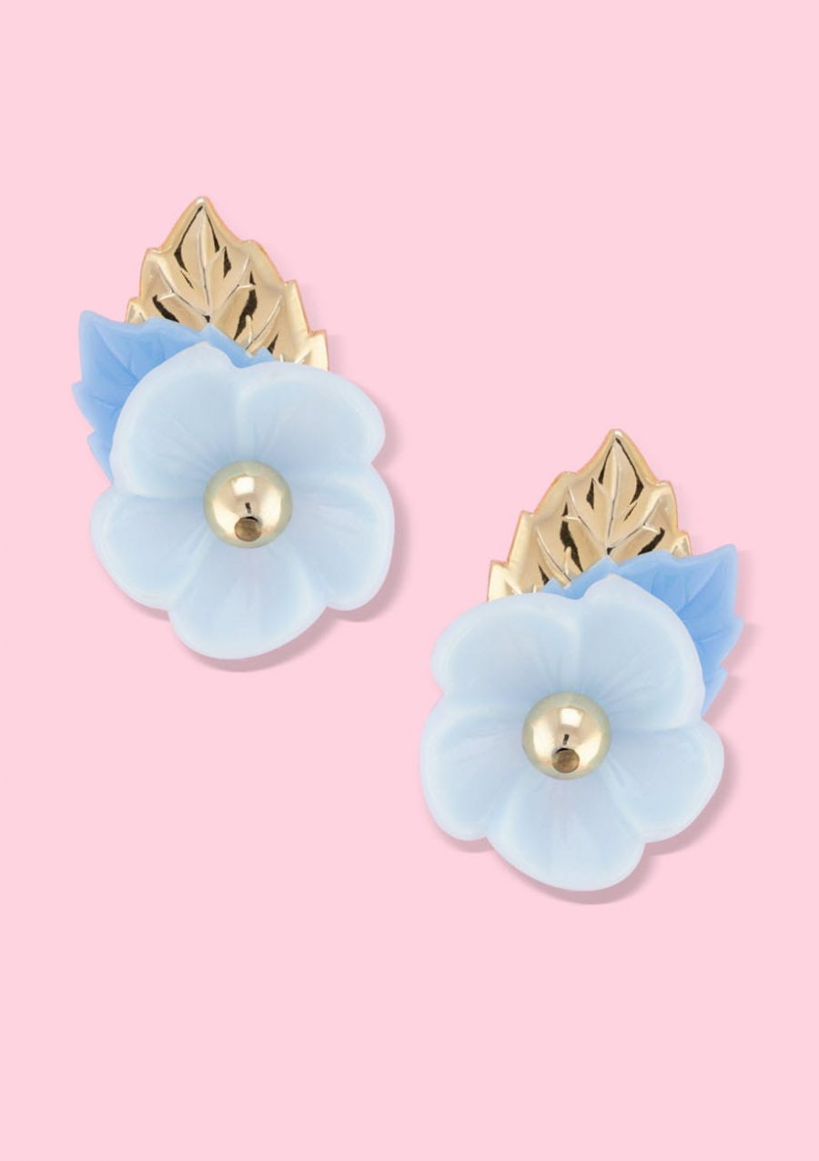 Unique blue flower stud earrings with clip-on closing, by live-to-express. Online vintage earrings shop