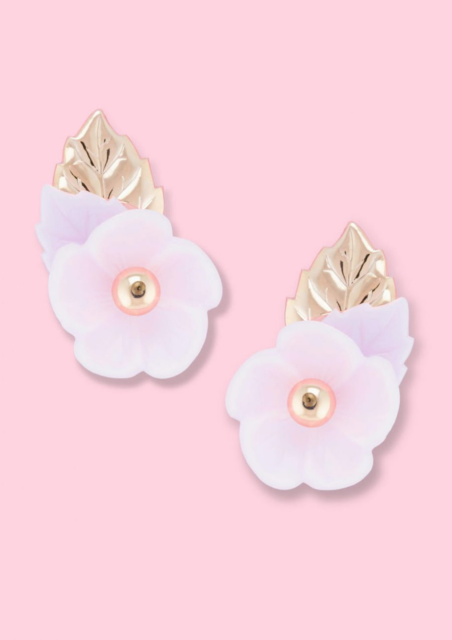 Unique pink flower stud earrings with clip-on closing, by live-to-express. Online vintage earrings shop