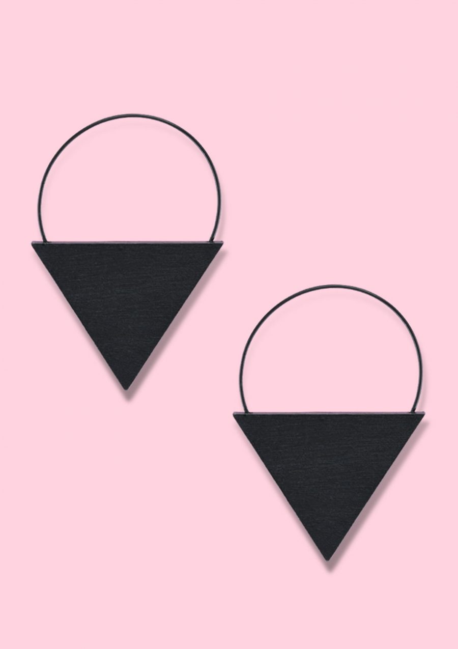 Triangular black wooden earrings by live-to-express. Shop vintage wooden earrings online.