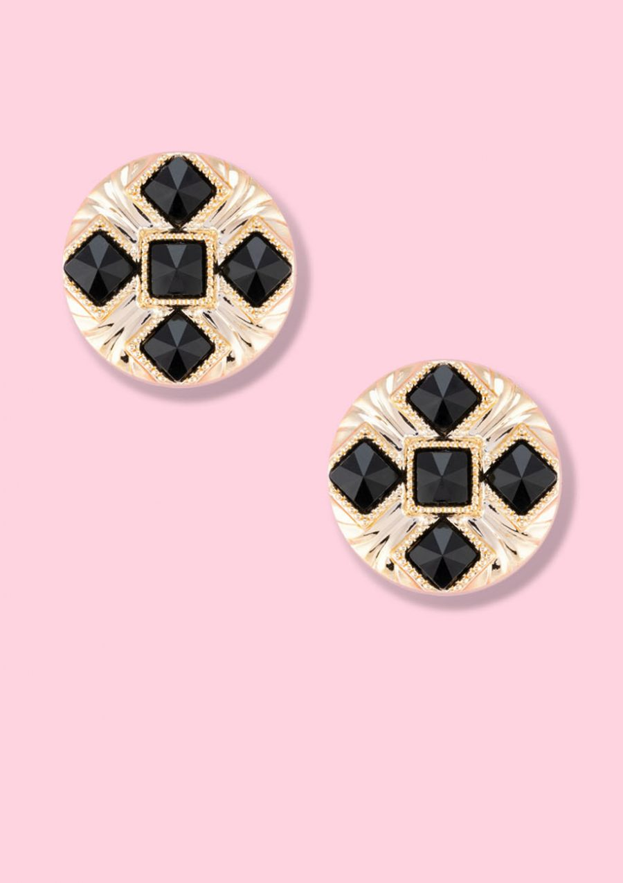 Vintage gold studs with stones, by live-to-express. Shop vintage stud earrings online.