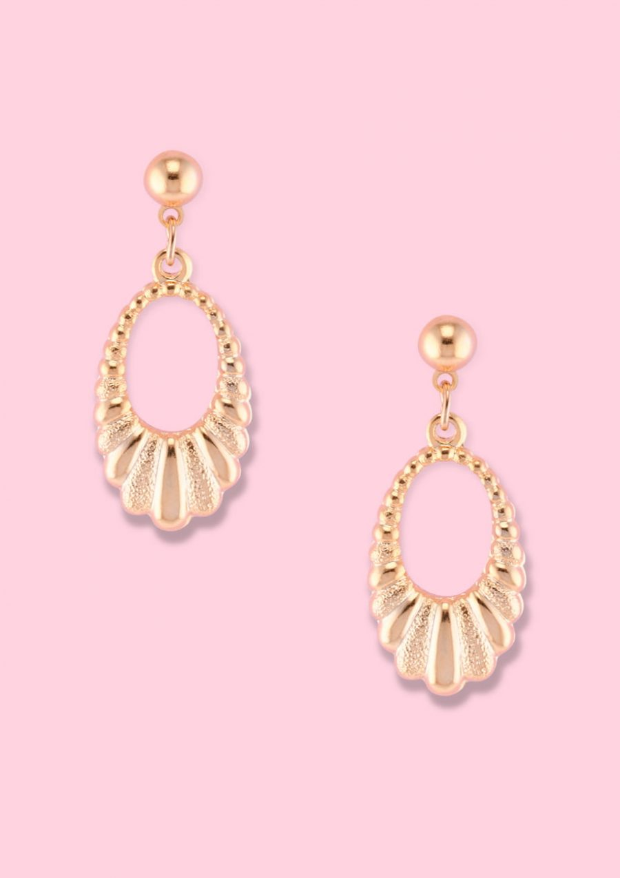 Golden classic vintage earrings by live-to-express. Shop 90's vintage ear jewellery online.