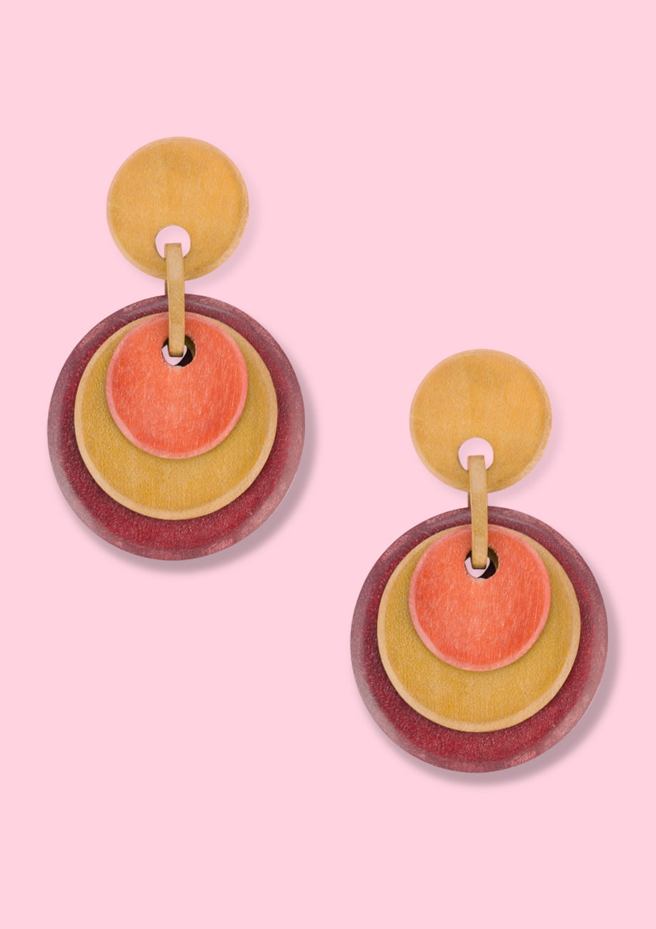 Wooden drop earrings by live-to-express. Sustainable vintage earrings by live-to-express.