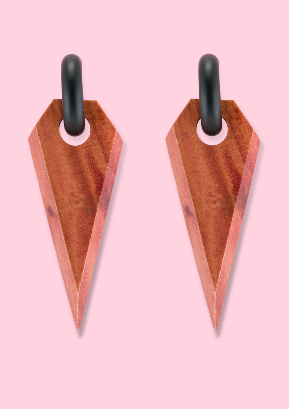 Red wooden vintage drop earrings