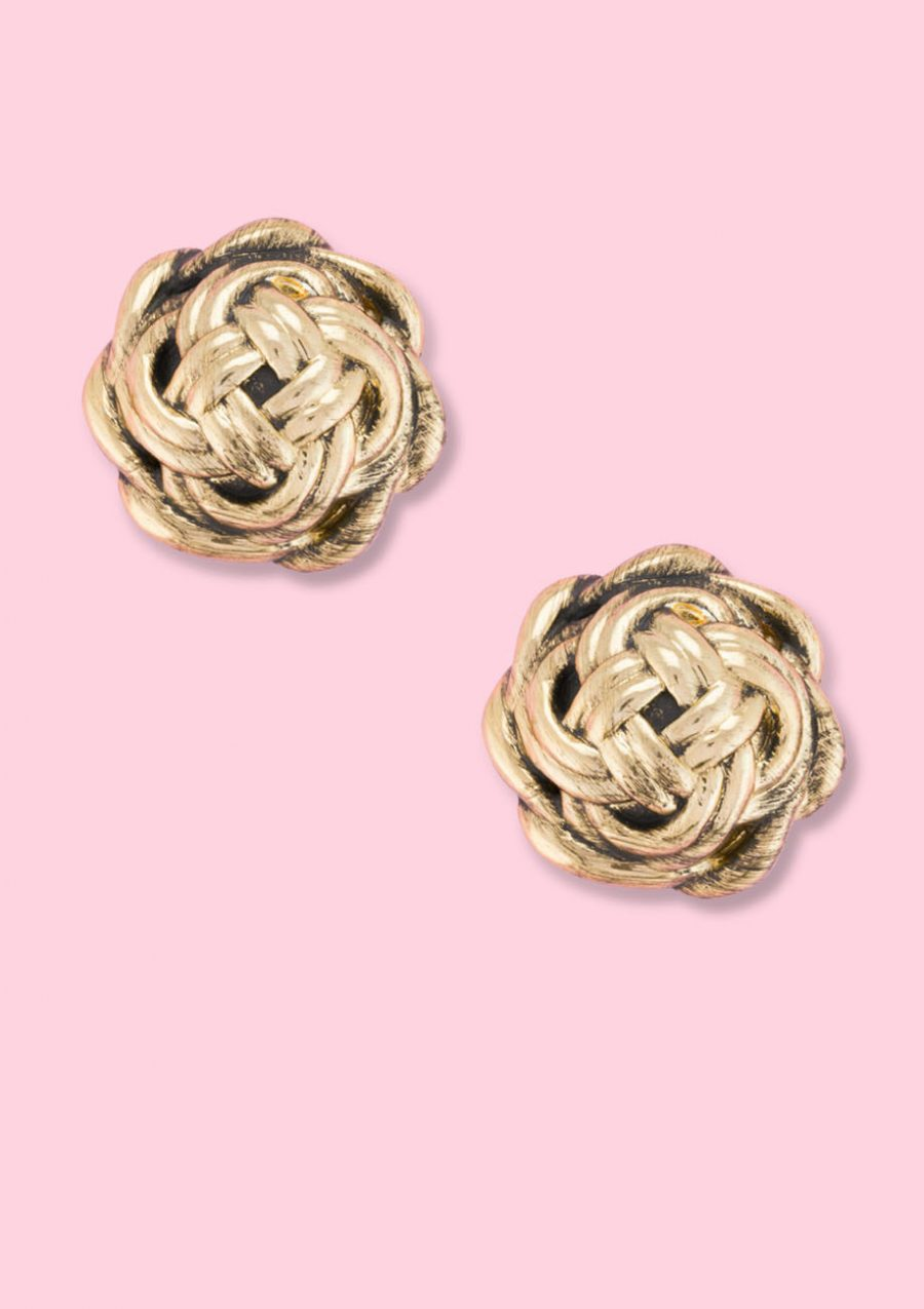 Golden vintage clip-on stud earrings, by live-to-express. Vintage clip-on stud earrings online