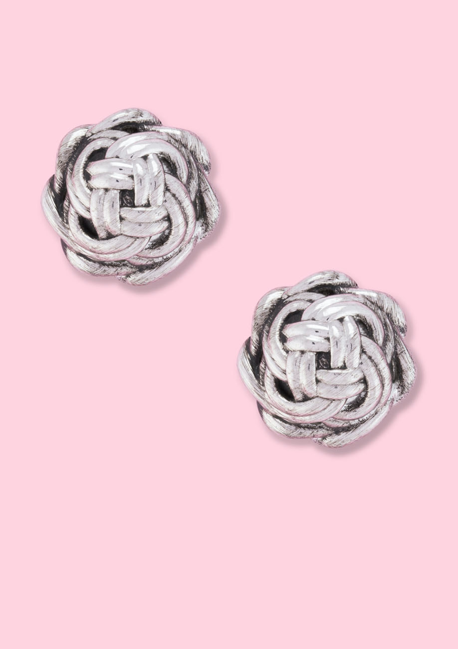Silver vintage clip-on stud earrings, by live-to-express. Vintage clip-on stud earrings online
