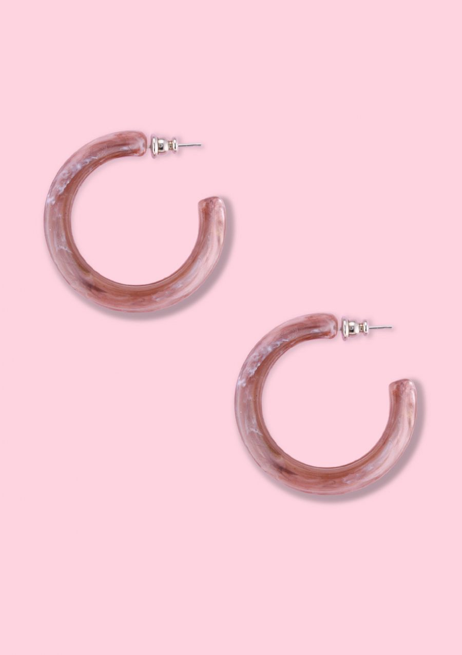 Brown vintage statement hoop earrings, by live-to-express. Online earrings shop.
