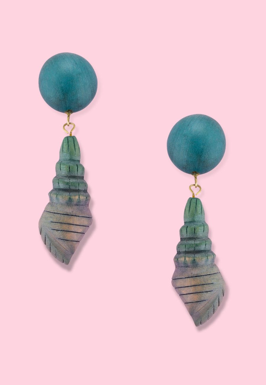 Blue wooden clip-on drop earrings by live-to-express. Shop sustainable vintage earrings online.