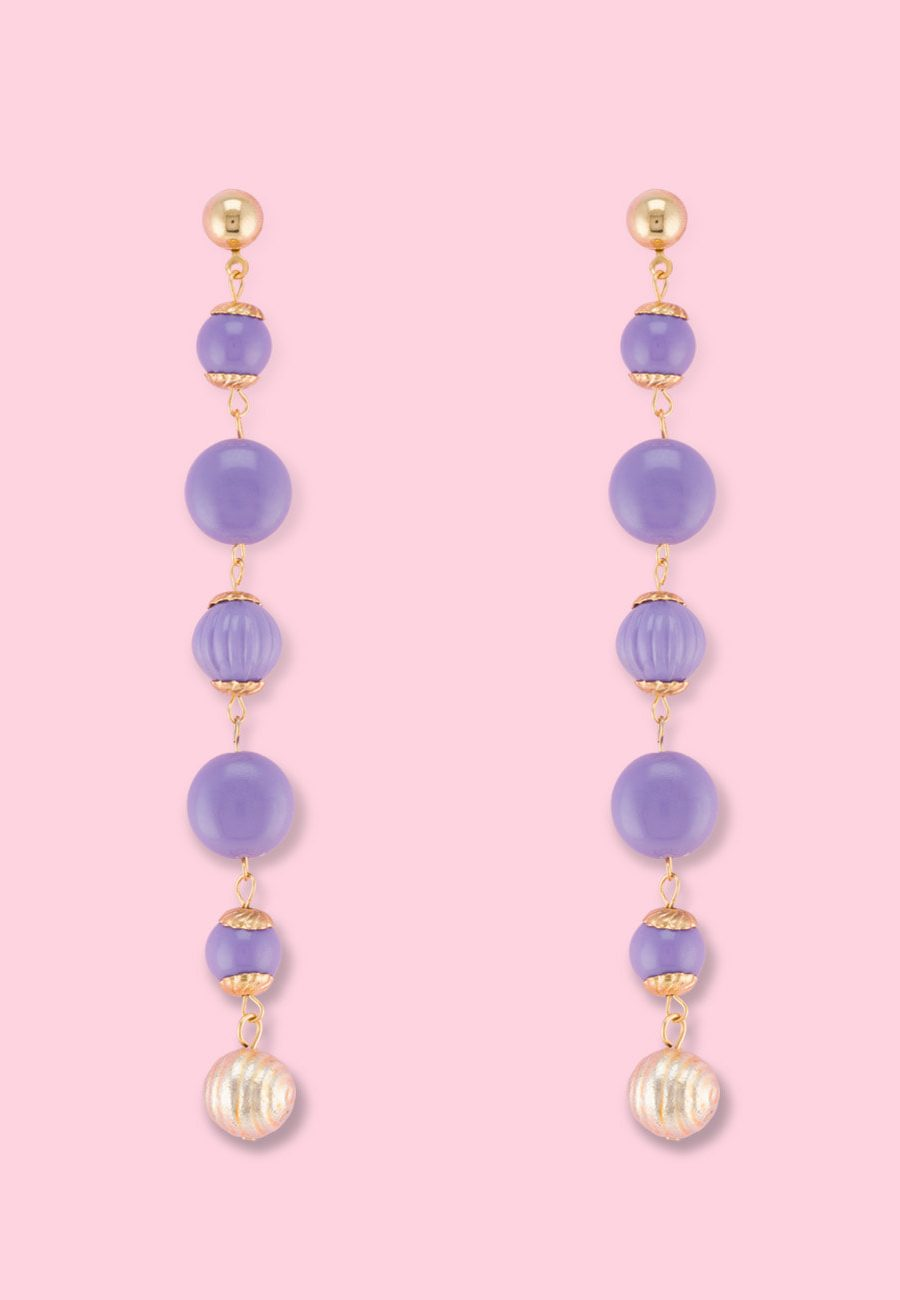 Lilac vintage dangle earrings by live-to-express. Shop vintage push-back earrings online.