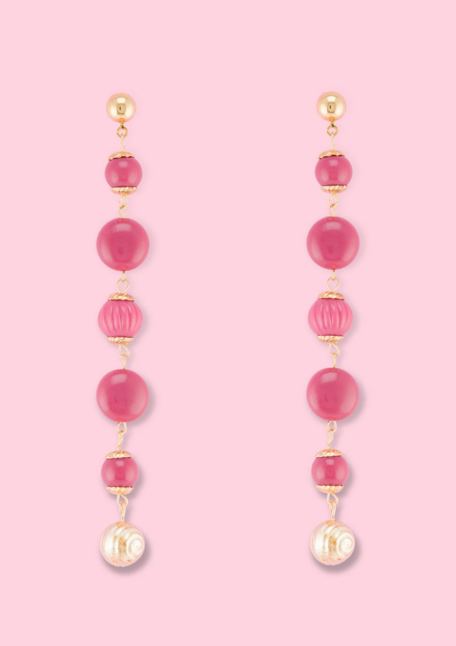 Pink vintage dangle earrings by live-to-express. Shop vintage push-back earrings online.