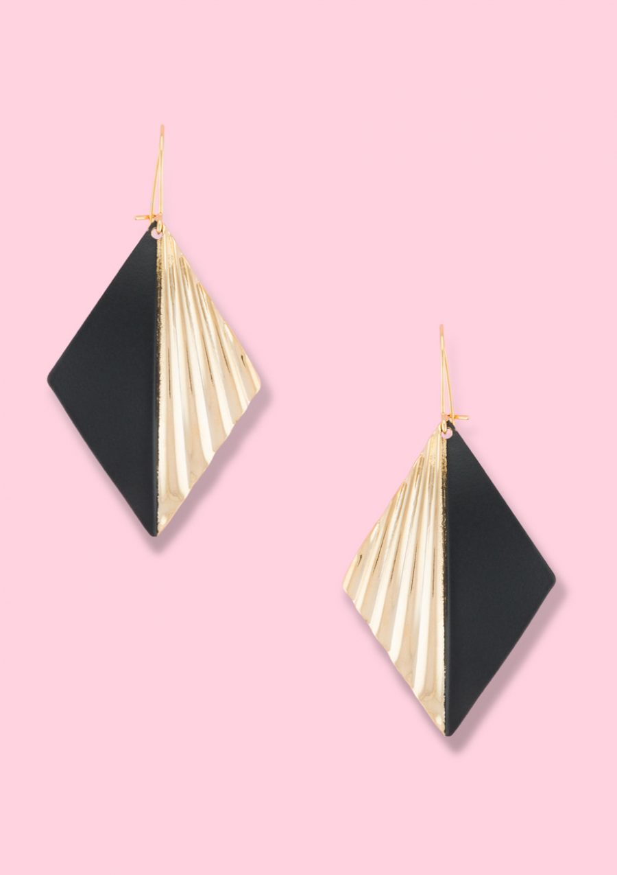 Gold drop earrings. Vintage diamond shaped earrings with a gold and matt finish.