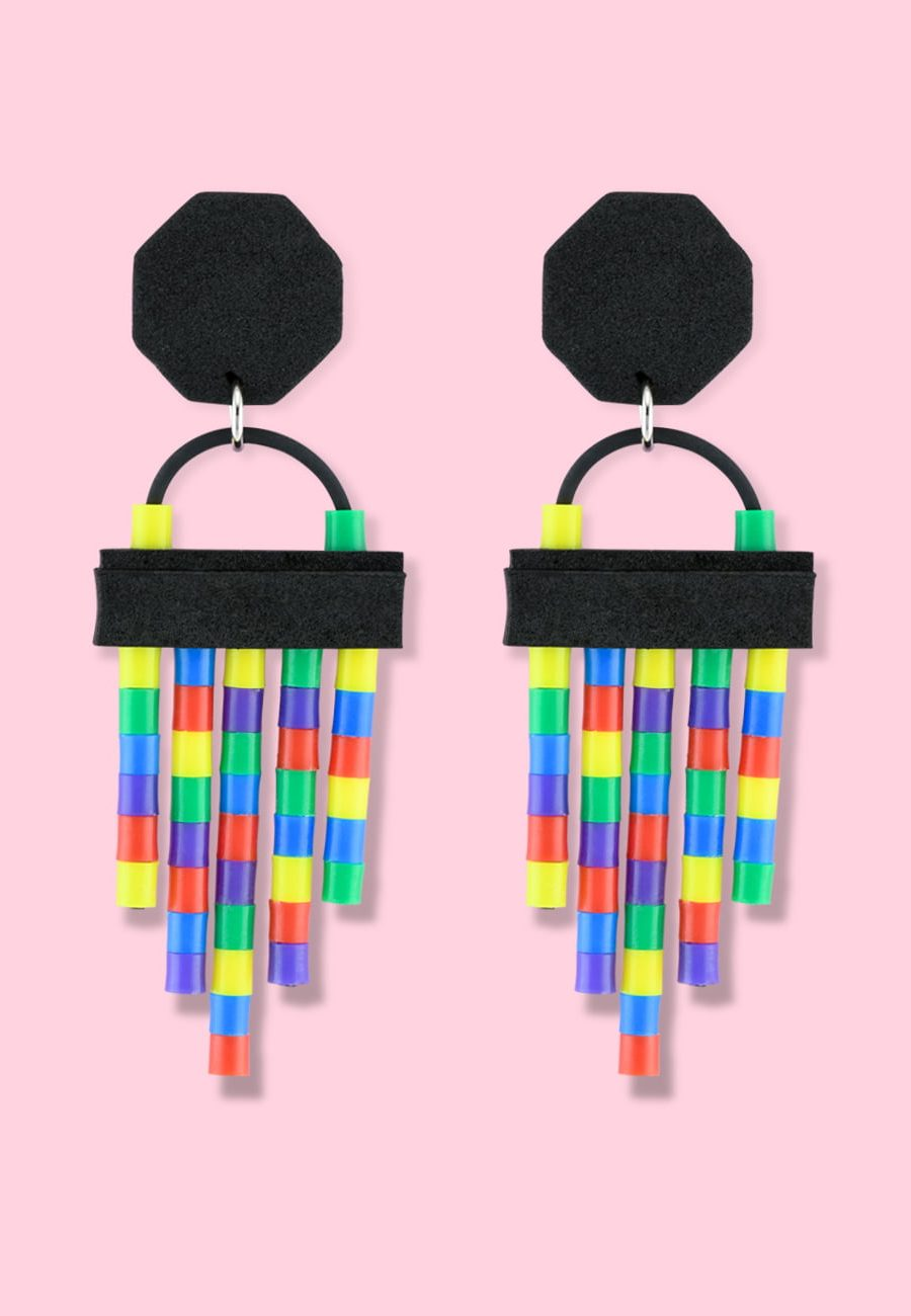 Colourful drop earrings by live-to-express, shop vintage clip-on earrings online.