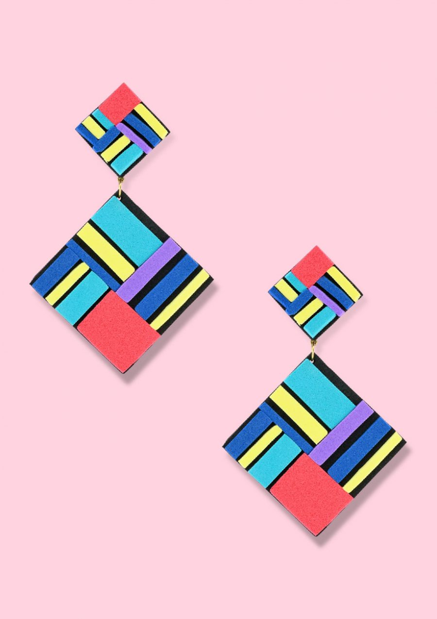 Abstract clip-on drop earrings by live-to-express. Shop vintage clip-on earrings online.