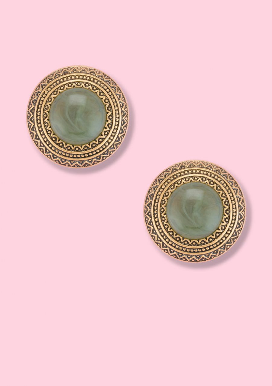 Vintage gold and green clip-on stud earrings, by live-to-express. Shop sustainable vintage earrings online