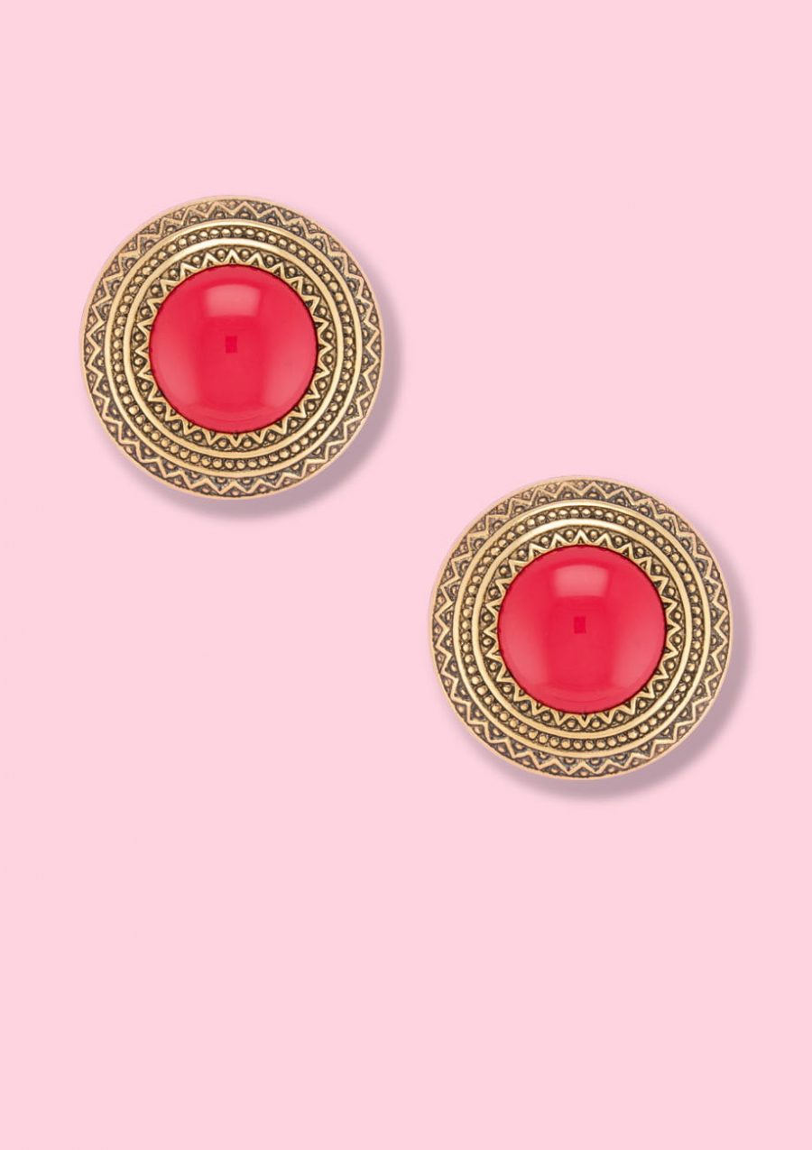 Vintage gold and red clip-on stud earrings, by live-to-express. Shop sustainable vintage earrings online