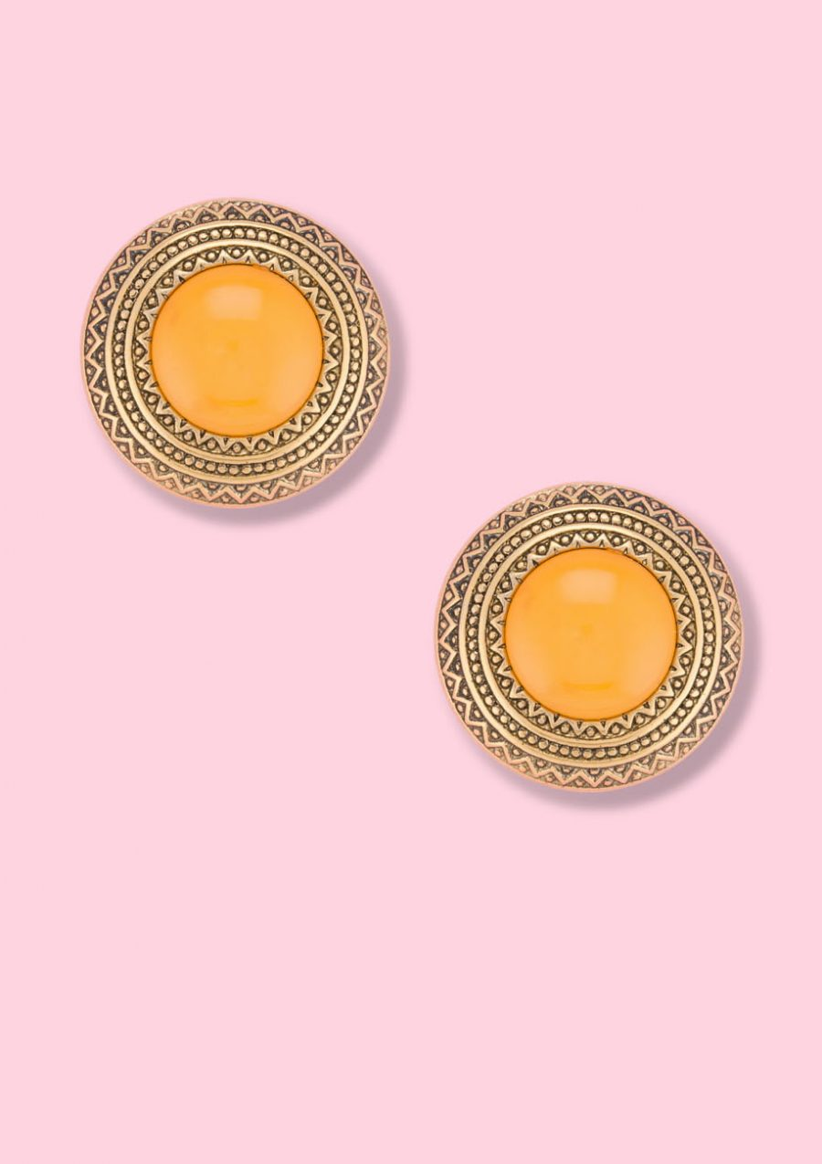 Vintage gold and yellow clip-on stud earrings, by live-to-express. Shop sustainable vintage earrings online