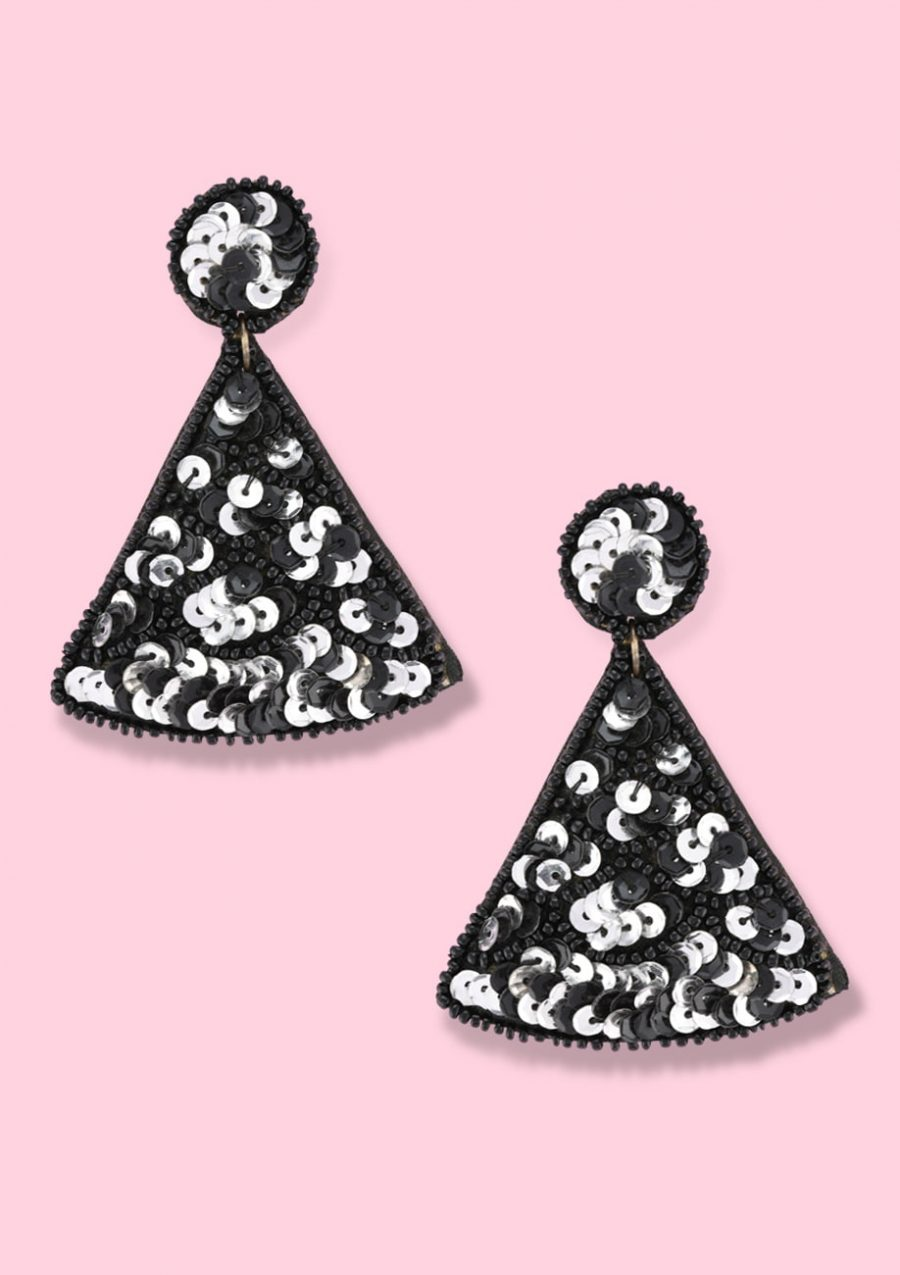 Glitter statement drop earrings with a push-back closing, by live-to-express. Shop statement earrings online.