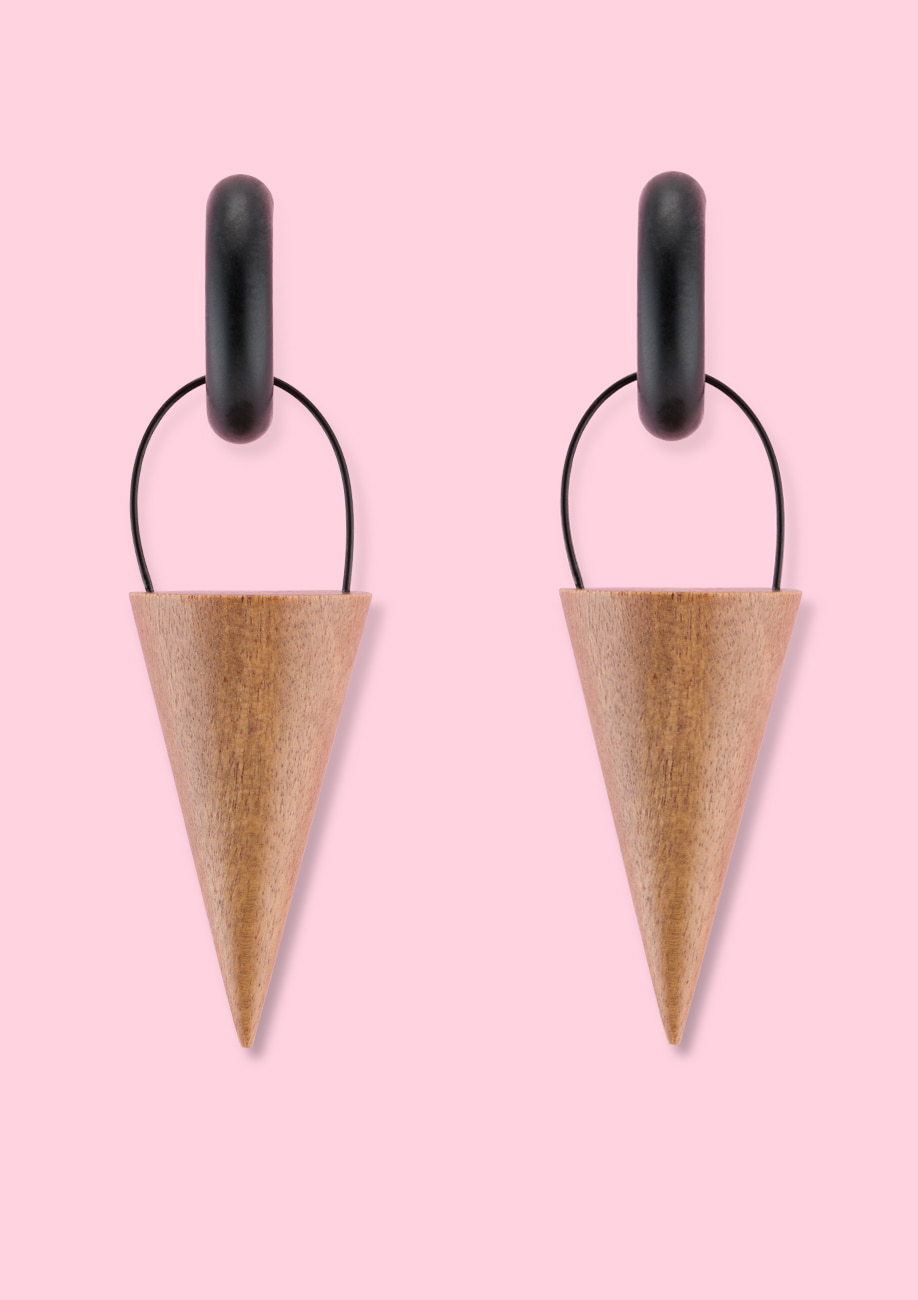 Wooden design drop earrings by live to express. Sustainable earrings made of wood.
