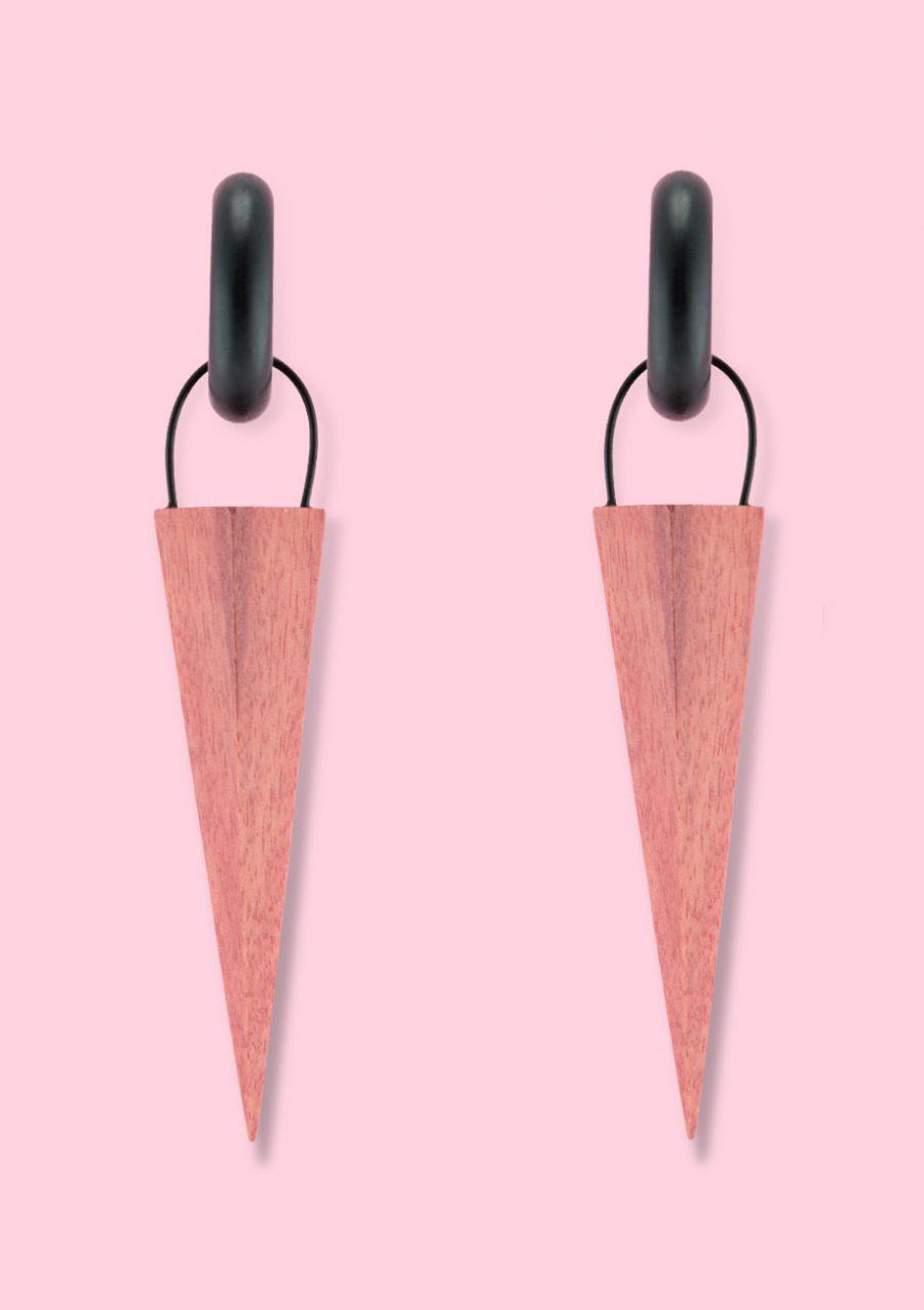 Brown wooden vintage drop earrings