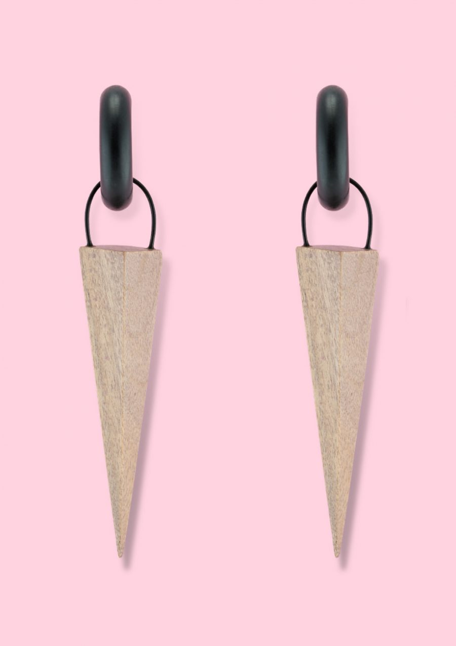 Grey wooden sustainable drop earrings