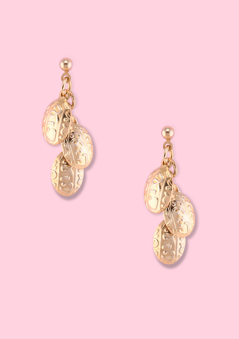 Gold embossed fine earrings by live-to-express. Shop 90's vintage ear jewellery online.