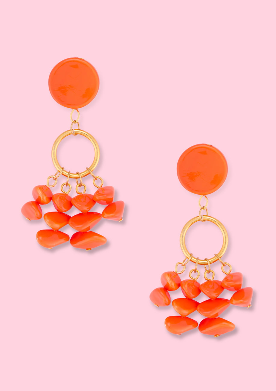 Orange statement drop earrings. Vintage drop earrings by live-to-express